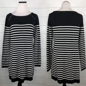 NWT WHBM Breton Striped Tunic Sweater Black